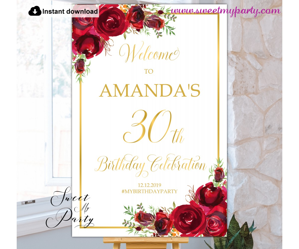 Red Roses 30th Birthday Party Welcome sign template,(16)