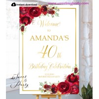 Red Roses 40th Birthday Party Welcome sign template,(16)