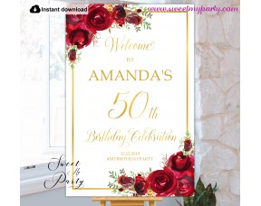 Red Roses 50th Birthday Party Welcome sign template,(16)