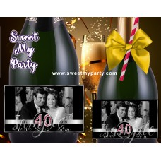 40th Wedding Anniversary Champagne Labels,Ruby Wedding Anniversary Champagne Labels,(3aa)