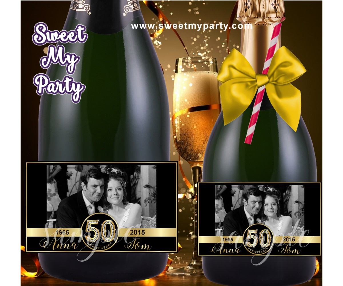 50th Anniversary Champagne labels with photo, Anniversary Champagne Bottle labels,(2aa)