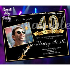 40th and Fabulous Birthday Party Invitation with photo,Gold Diamonds 40th Birthday Bash Invitation,(14ab)