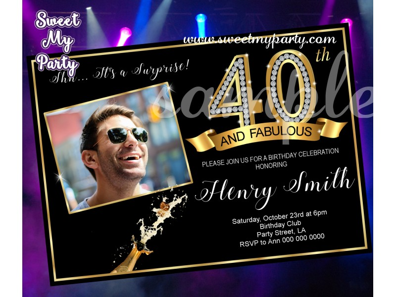 40th and Fabulous Birthday Party Invitation with photo|Gold Diamonds ...
