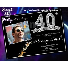 40th Birthday Party Invitation with photo,Silver Diamond 40th Birthday Invitation, (15ab)