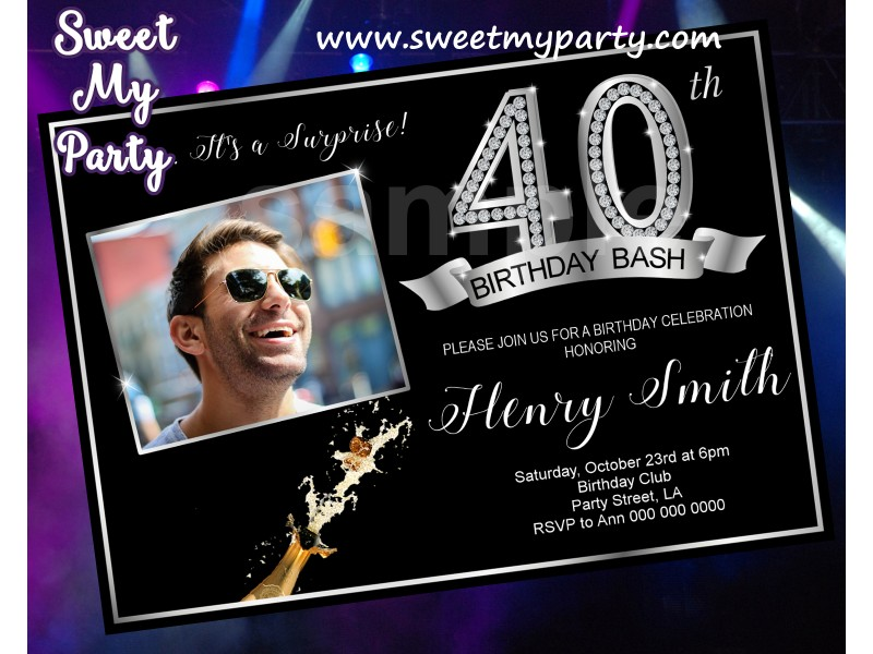 40th Birthday Party Invitation With Photo