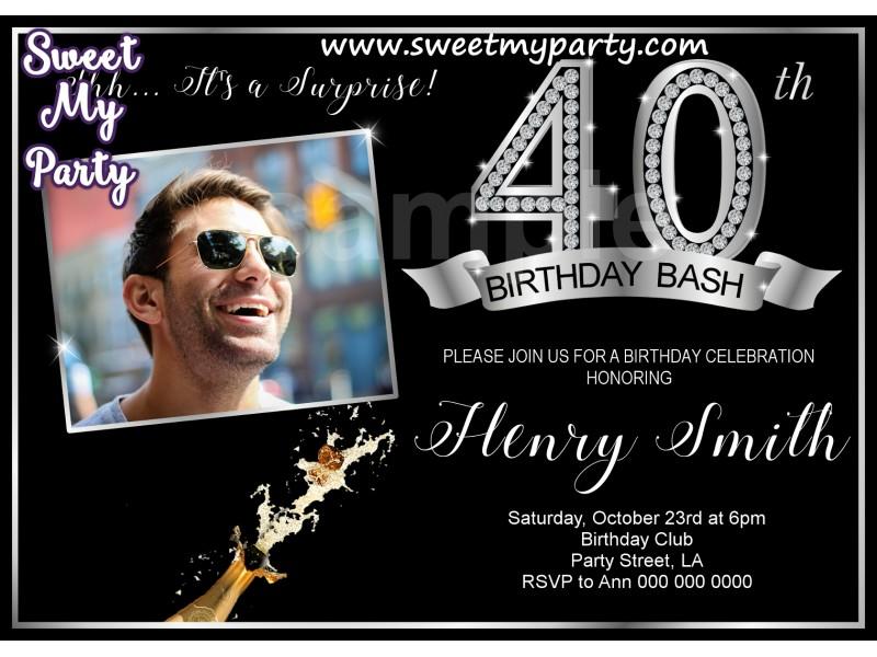 40th Birthday Party Invitation With PhotoSilver Diamond 15ab