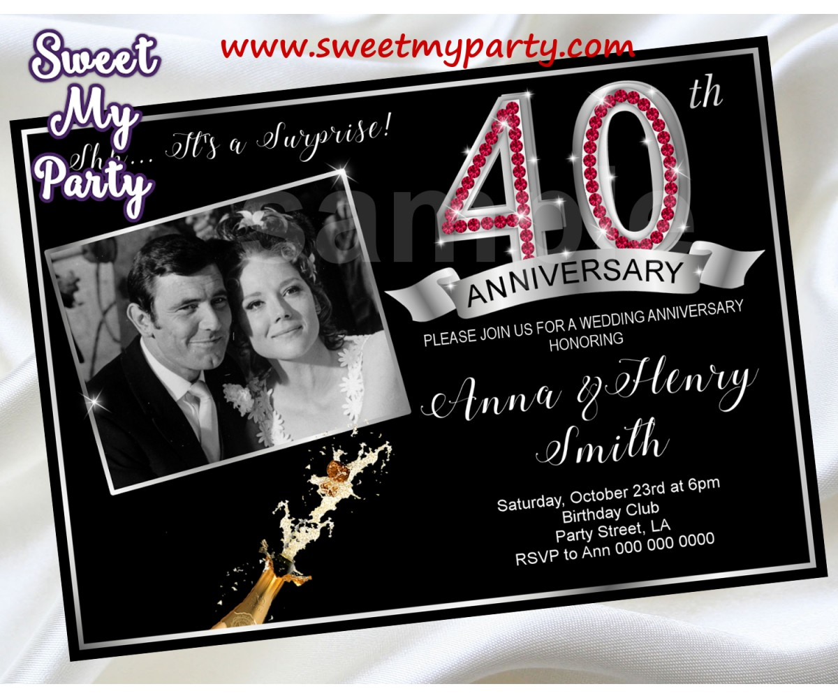40th Wedding Anniversary Invitation,Ruby Wedding Anniversary Invitation,(3aa)