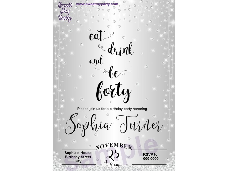 50th Sparkly Diamonds Birthday Invitation50th Shower Silver Invitation13ab