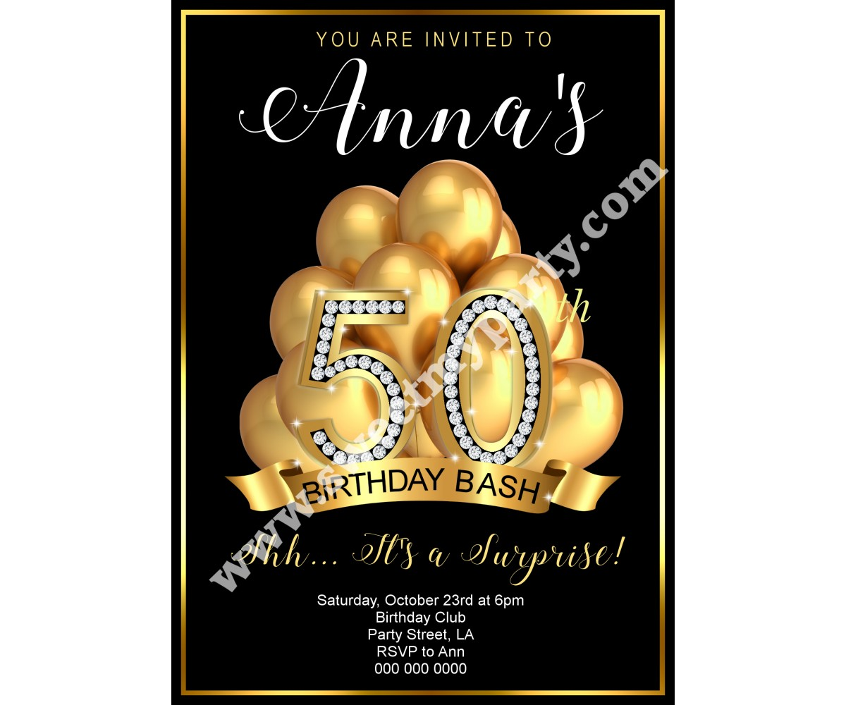 50th 60th 40th 30th Birthday InvitationGold Balloons Invitation10ab