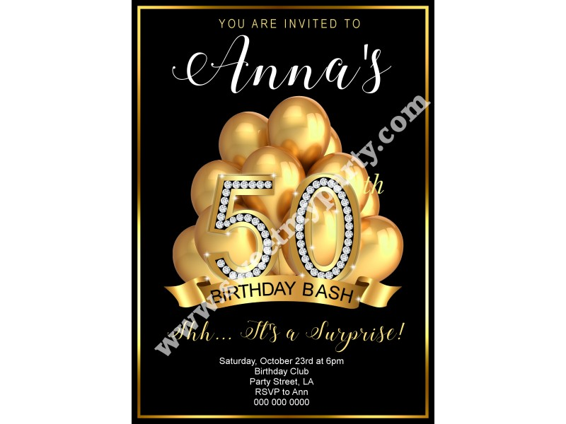 50th 60th 40th 30th gold balloons birthday invitation|gold diamonds ...