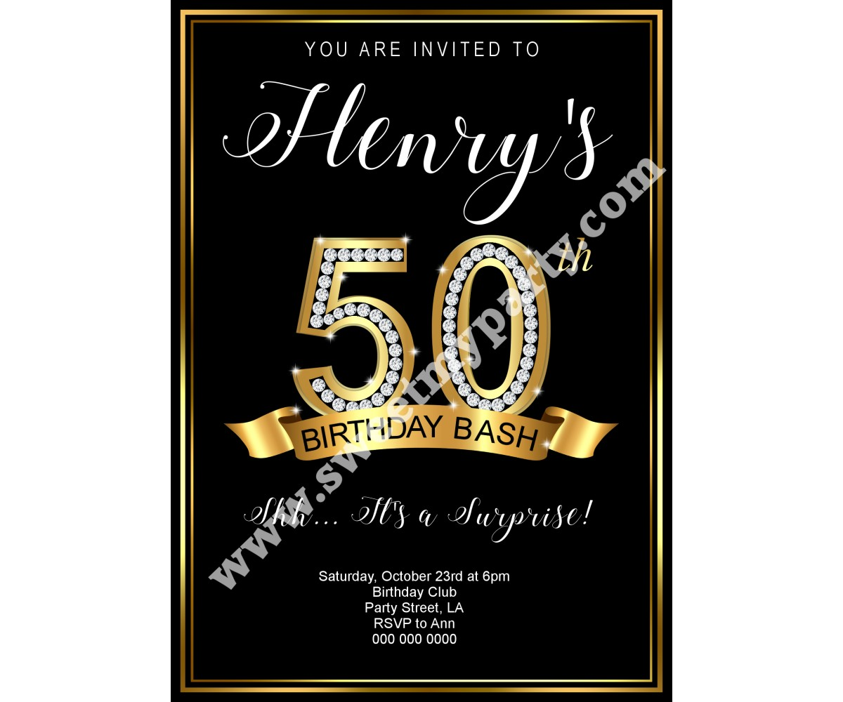 50th 60th 40th 30th Birthday Invitation,Gold Diamonds Birthday Invitation,(1ab)