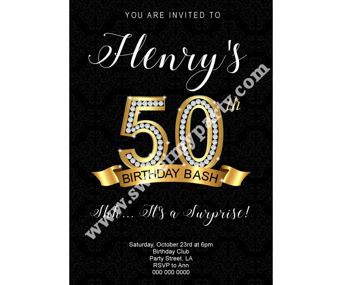 50th 60th 40th 30th Birthday Invitation,Gold Diamonds Birthday Invitation,(2ab)