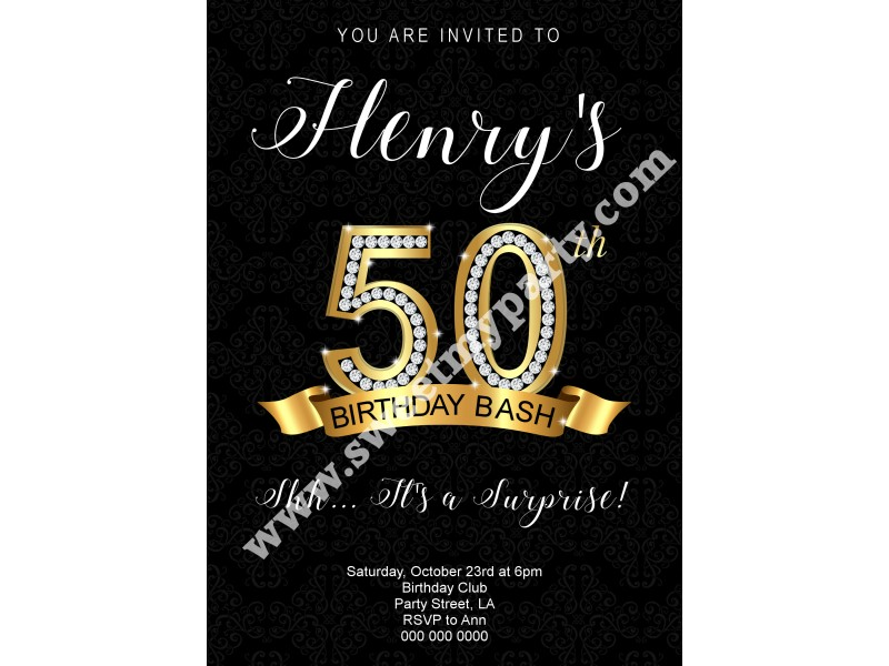 50th 60th 40th 30th birthday invitation|gold and diamonds birthday ...