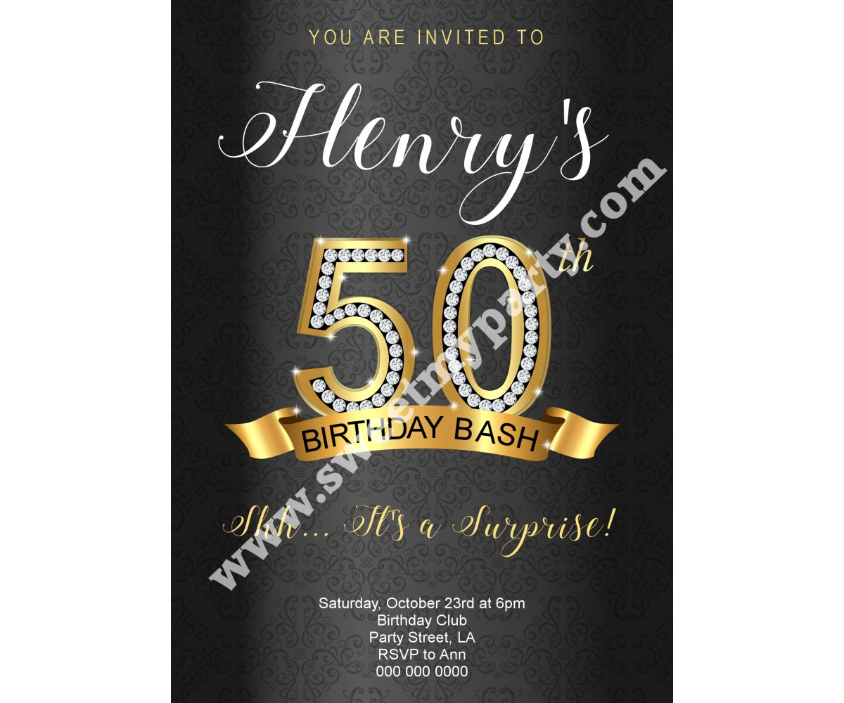 50th 60th 40th 30th Birthday InvitationGold Diamonds Invitation9ab