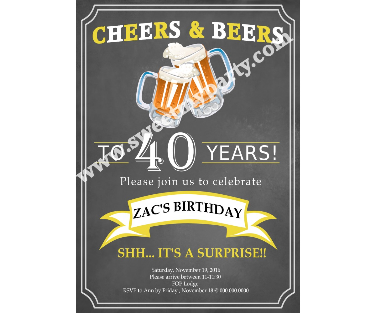 Cheers and Beers Birthday Invitation,(11ab)