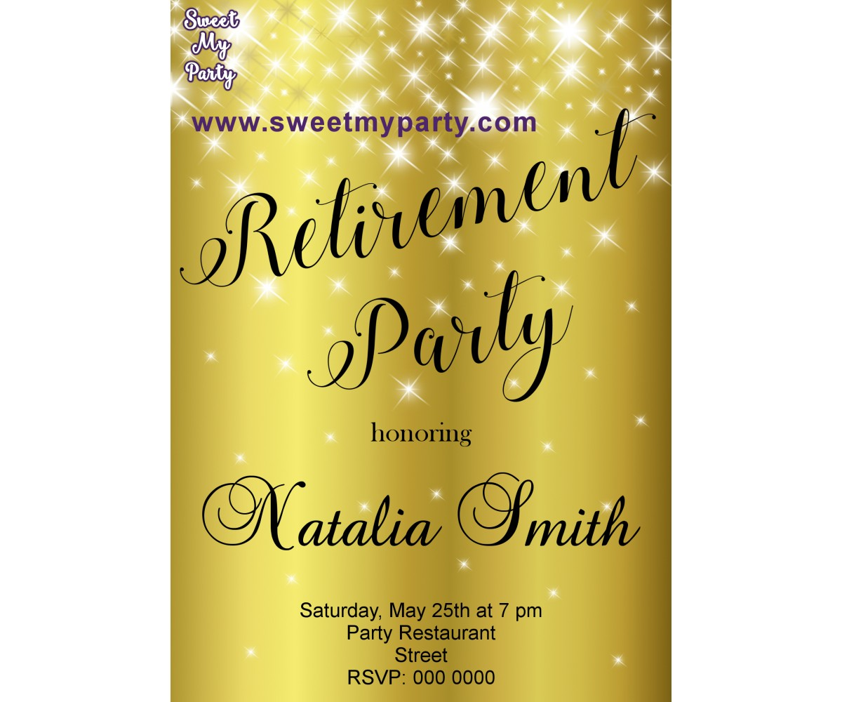 Gold Sparkly Retirement Party Invitation Golden 01ar