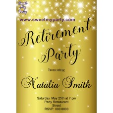 Gold Sparkly Retirement Party Invitation,Golden Retirement Party Invitation,(01ar)