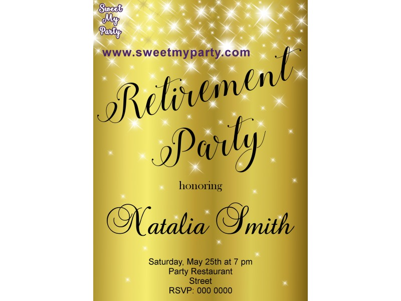 gold sparkly retirement party invitations|retirement invitation ...