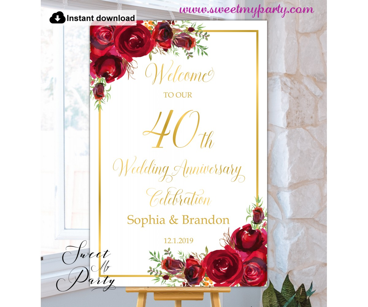 Red Roses 40th Anniversary welcome sign template,40th Anniversary welcome sign,(16)