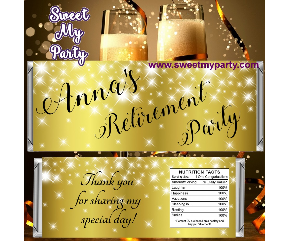 Gold Sparkle Retirement party candy bar wrappers,(01ar)