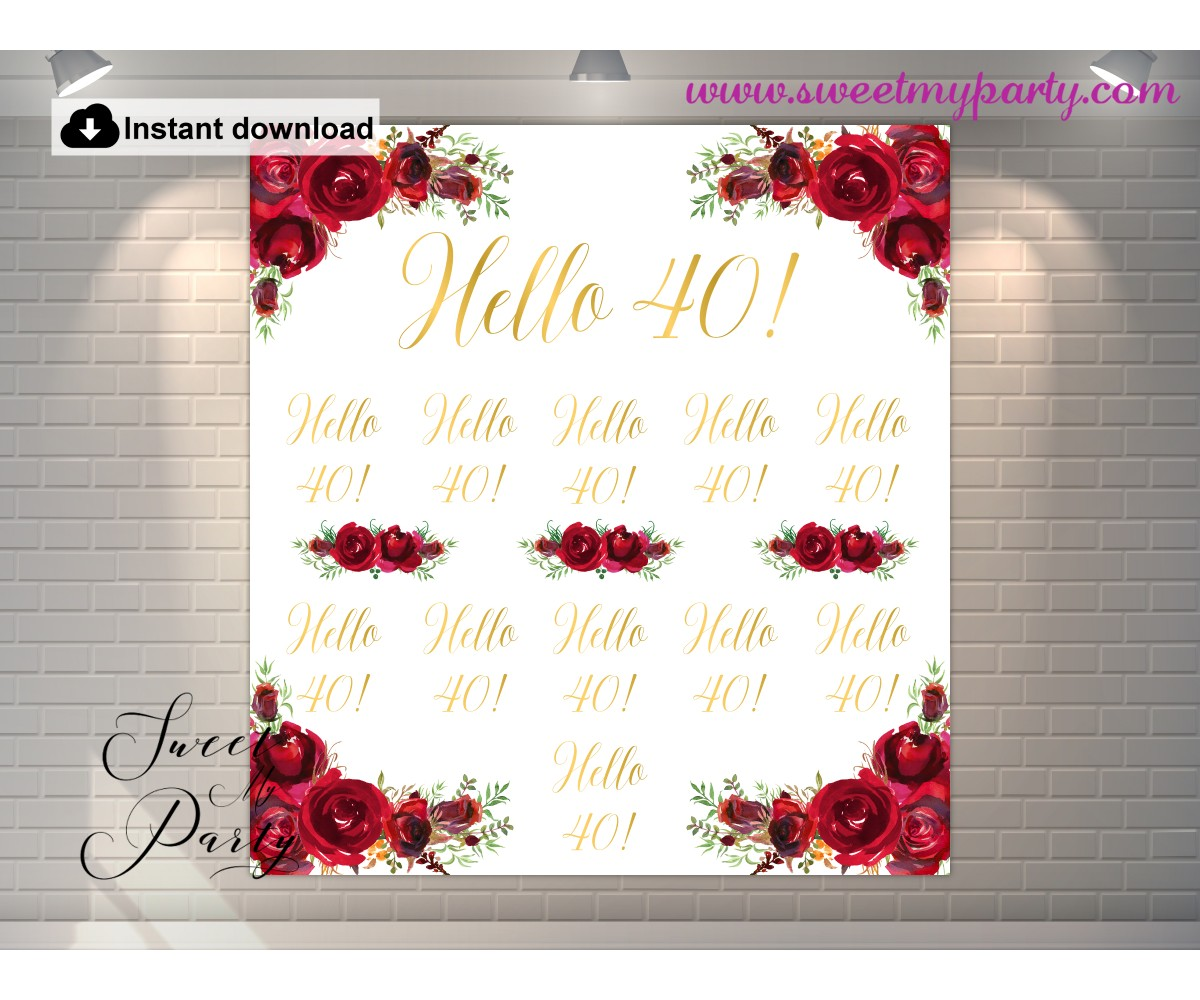 Red Roses 40th Birthday Photo Backdrop,(16)