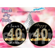 40th Birthday Party Hershey kisses stickers,40th Birthday Hershey kiss stickers,(14ab)