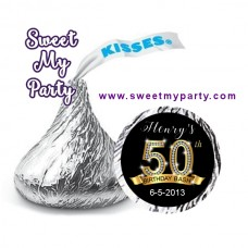 50th Birthday Hershey Kisses Stickers,Gold Diamonds 50th Birthday Hershey stickers,(1ab)