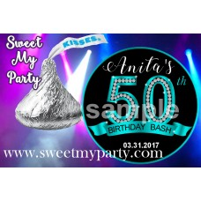 50th Birthday Hershey Kisses Stickers,Turquoise Diamonds 50th Birthday kisses stickers,(16ab)