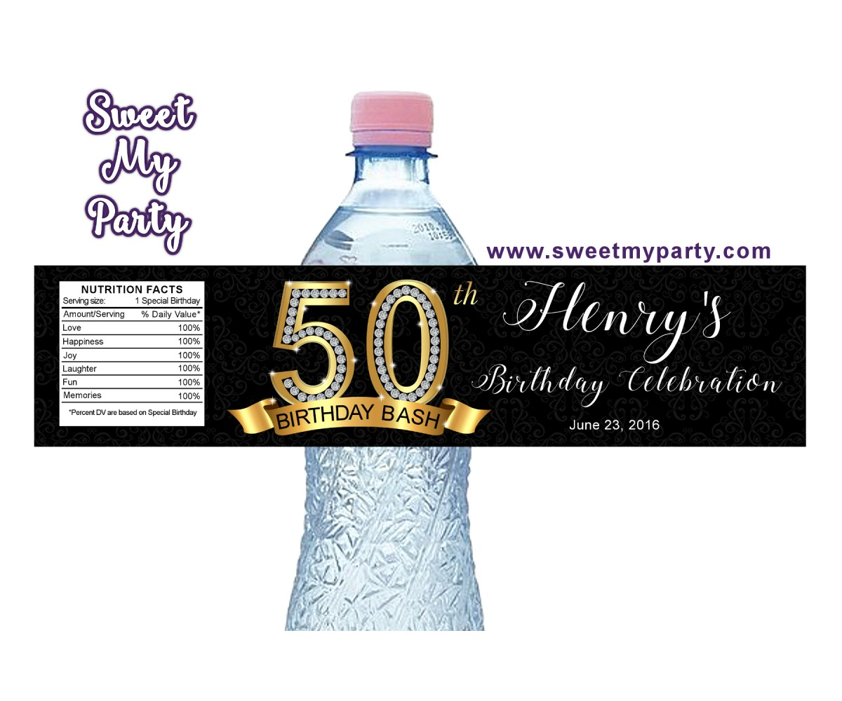 50th 60th 40th 30th Birthday water bottle labels,Gold Diamond personalized water bottle labels,(2ab)
