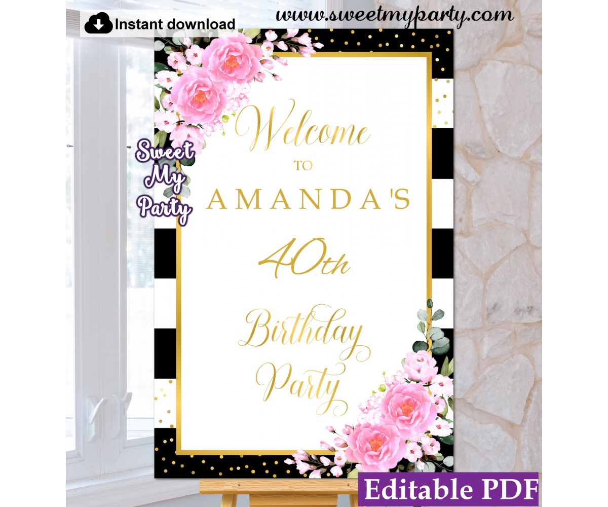photograph about Welcome Signs Template titled 40th 50th 60th birthday welcome indicator template,Crimson bouquets welcome indication template, (134ap)