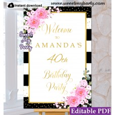 40th 50th 60th birthday welcome sign template,Pink flowers welcome sign template, (134ap)