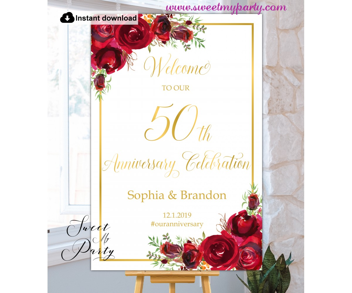 Red Roses 50th Anniversary welcome sign template,50th Anniversary welcome sign,(16)