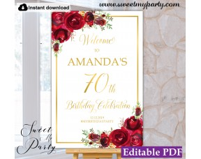 Red Roses 70th Birthday Party Welcome sign template,(16)