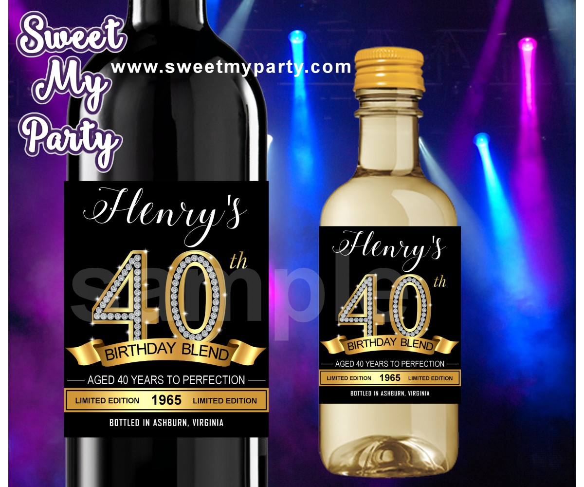 40th Birthday Party wine labels,Gold diamonds 40th Birthday Party wine labels,(14ab)
