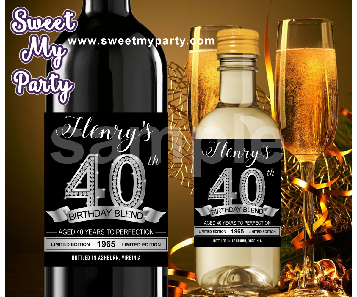 40th Birthday Party Wine Labels,Silver Diamonds Wine labels,(15ab)