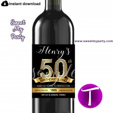 50th Birthday wine labels,50th Gold Diamonds personalized birthday party wine labels,(1a)
