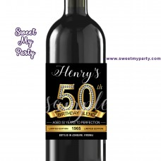 50th 60th 40th 30th Birthday wine labels,50th Gold Diamonds personalized birthday party wine labels,(1ab)