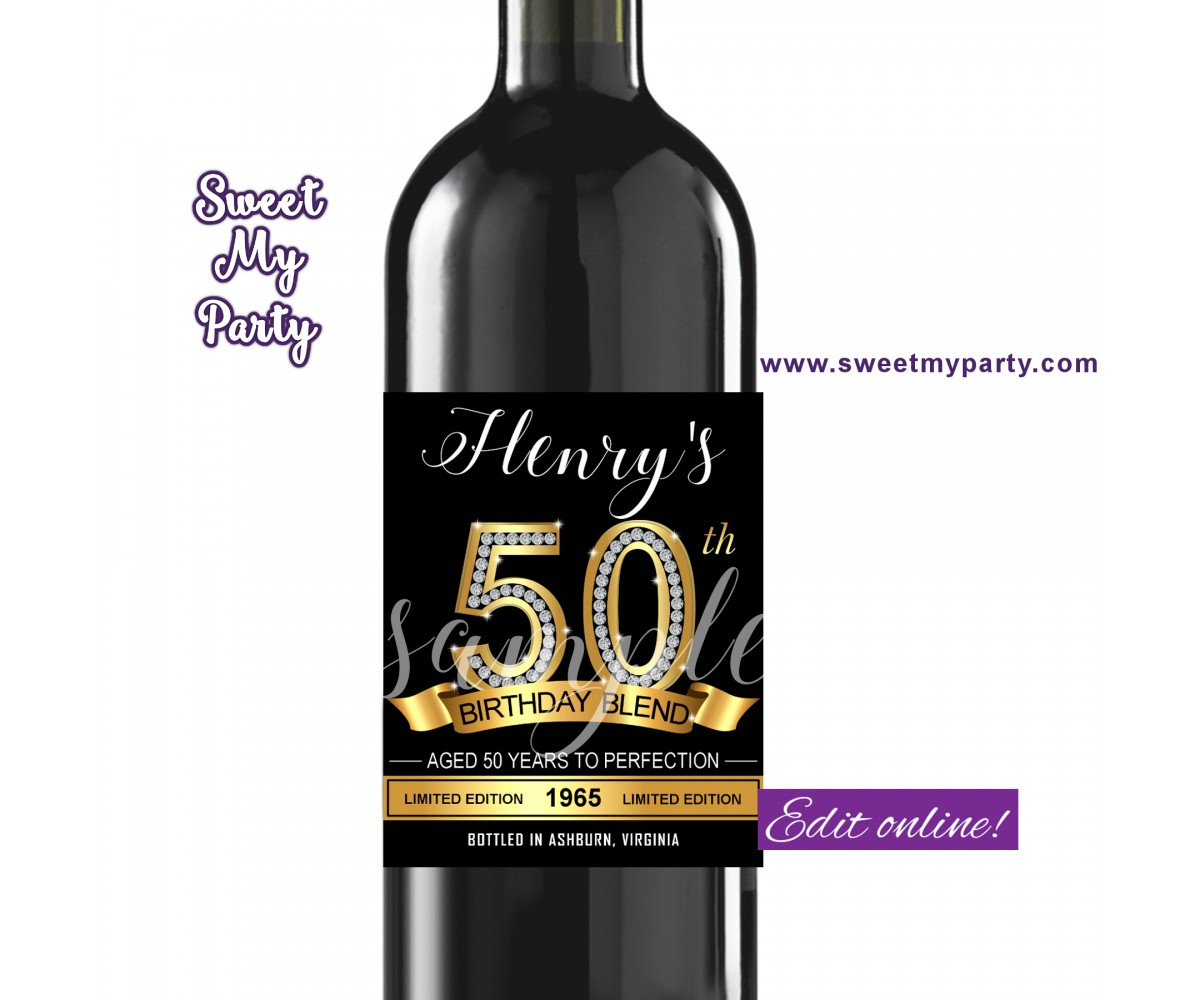 50th Birthday wine labels,Gold Diamonds wine labels,(1ab)