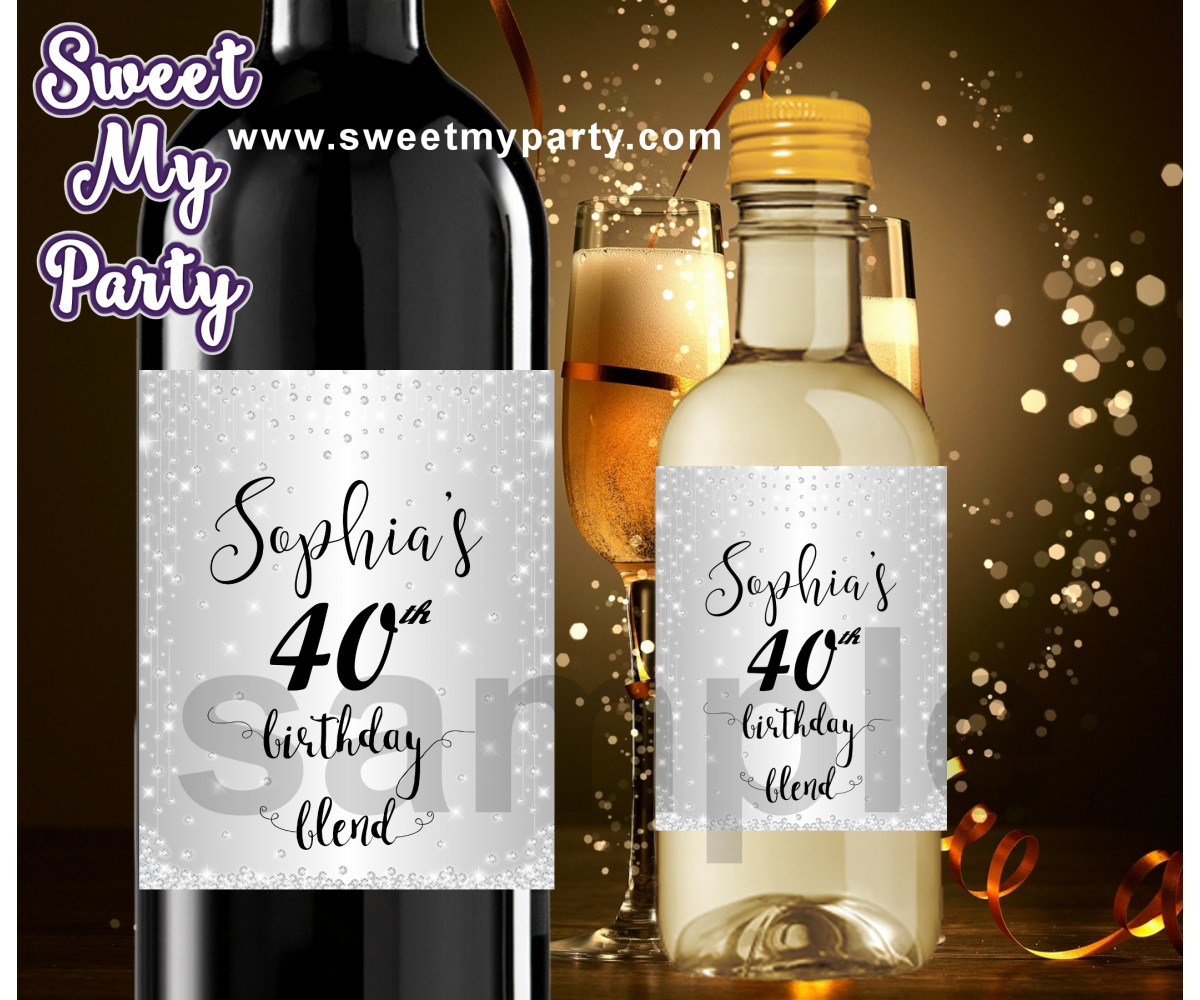 40th Birthday wine labels,40th Birthday Silver Diamonds personalized wine labels,(13ab)