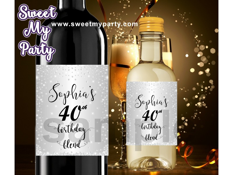 40th silver diamonds birthday party personalized wine labels 40th