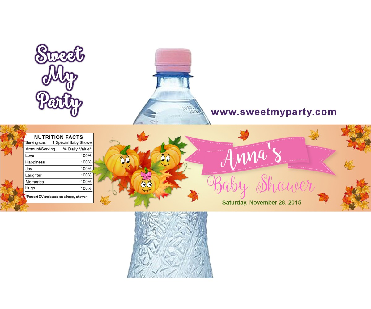 Pumpkin Baby Shower water bottle labels, (001bspump)