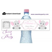 Pink and Grey Elephant Baby Shower water bottle labels,(9ebb)