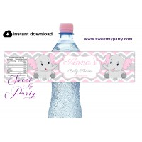 Pink Elephant Baby Shower water bottle labels,(10e)