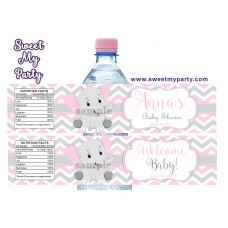 Pink and Grey Elephant Baby Shower water bottle labels,(10ebb)