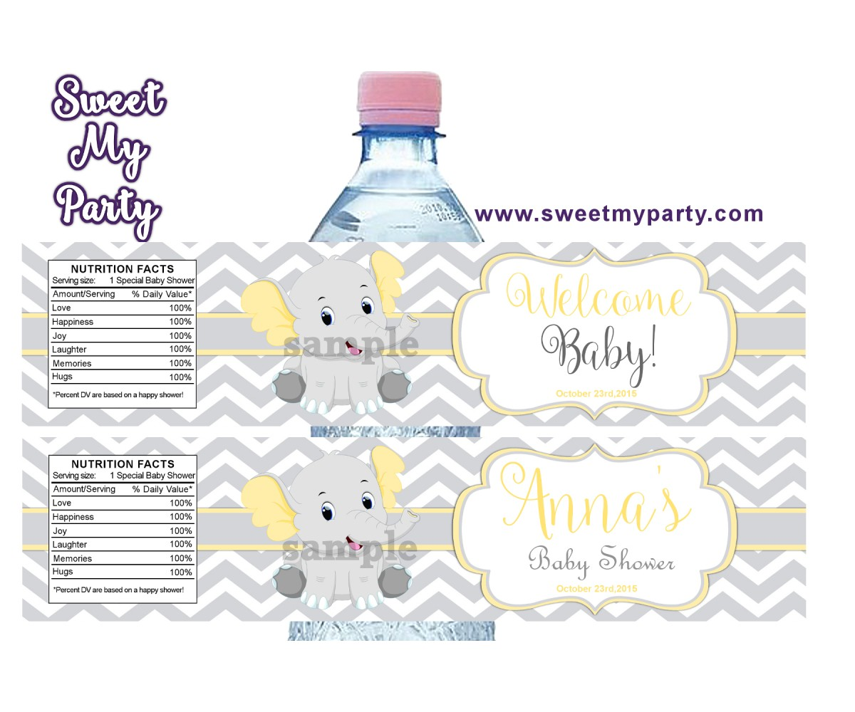 Yellow and grey elephant baby shower water bottle labels,(005ebs)