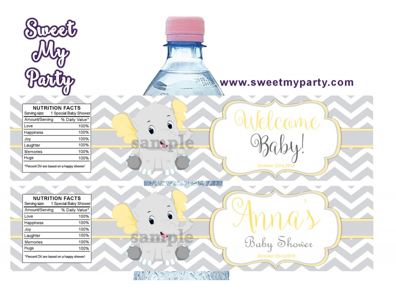 Yellow And Grey Elephant Baby Shower Water Bottle Labels,(005ebs) ...