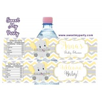 Yellow and grey elephant baby shower water bottle labels,(006ebs)