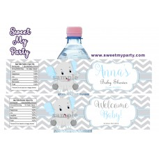 Blue and Grey Elephant Baby Shower water bottle labels,(7ebb)