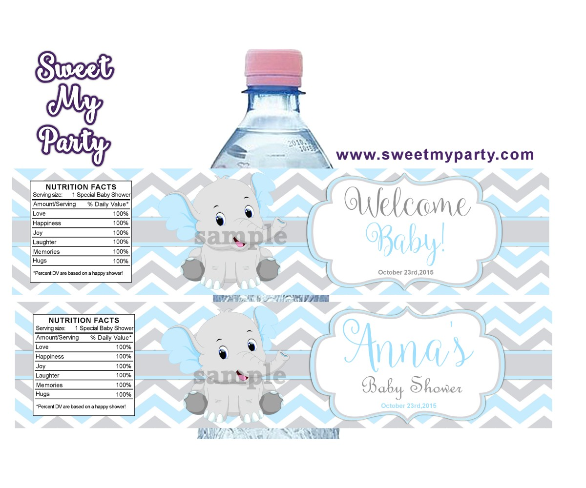 Blue and Grey Elephant Baby Shower water bottle labels,(8ebb)