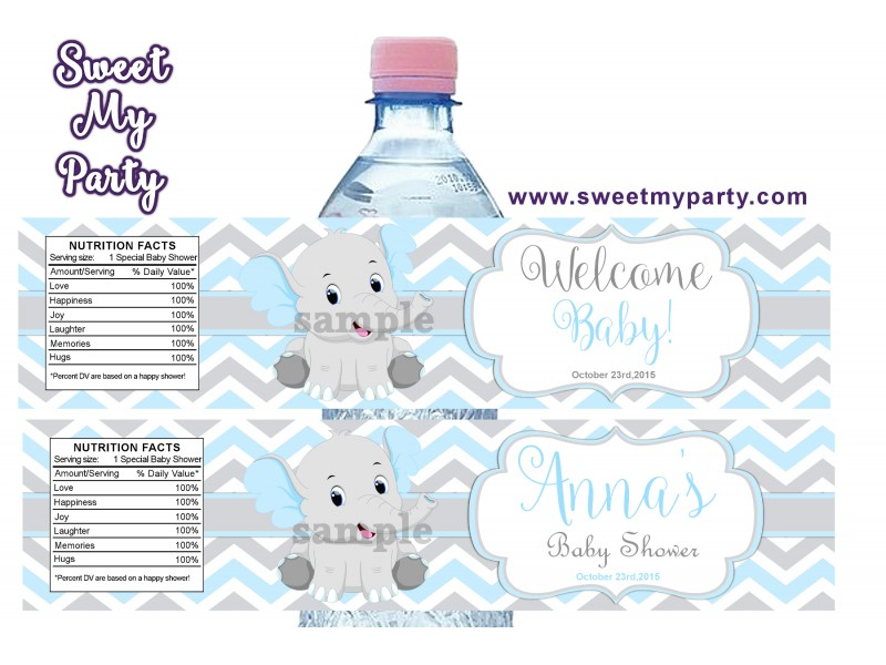 blue and grey elephant baby shower water bottle labels8ebb
